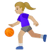 ⛹🏼‍♀️ woman bouncing ball: medium-light skin tone Emoji on Google Platform