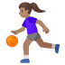 ⛹🏽‍♀️ woman bouncing ball: medium skin tone Emoji on Google Platform
