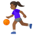 ⛹🏾‍♀️ woman bouncing ball: medium-dark skin tone Emoji on Google Platform