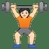 🏋🏻 person lifting weights: light skin tone Emoji on Google Platform