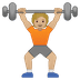 🏋🏼 person lifting weights: medium-light skin tone Emoji on Google Platform