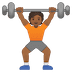🏋🏾 person lifting weights: medium-dark skin tone Emoji on Google Platform