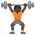 🏋🏿 person lifting weights: dark skin tone Emoji on Google Platform