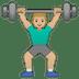 🏋🏼♂️ man lifting weights: medium-light skin tone Emoji on Google Platform