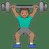 🏋🏽♂️ man lifting weights: medium skin tone Emoji on Google Platform