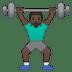 🏋🏿♂️ man lifting weights: dark skin tone Emoji on Google Platform