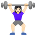 🏋🏻‍♀️ woman lifting weights: light skin tone Emoji on Google Platform