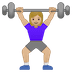 🏋🏼♀️ woman lifting weights: medium-light skin tone Emoji on Google Platform