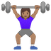 🏋🏽‍♀️ woman lifting weights: medium skin tone Emoji on Google Platform
