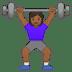 🏋🏾♀️ woman lifting weights: medium-dark skin tone Emoji on Google Platform