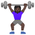 🏋🏿‍♀️ Dark Skin Tone Woman Lifting Weights Emoji on Google Platform
