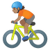 🚴🏽 person biking: medium skin tone Emoji on Google Platform