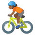 🚴🏾 person biking: medium-dark skin tone Emoji on Google Platform