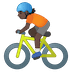 🚴🏿 person biking: dark skin tone Emoji on Google Platform