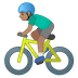 🚴🏽‍♂️ man biking: medium skin tone Emoji on Google Platform