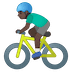 🚴🏿♂️ man biking: dark skin tone Emoji on Google Platform