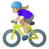 🚴🏼♀️ woman biking: medium-light skin tone Emoji on Google Platform