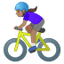 🚴🏽‍♀️ woman biking: medium skin tone Emoji on Google Platform