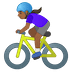 🚴🏾‍♀️ woman biking: medium-dark skin tone Emoji on Google Platform