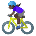🚴🏿‍♀️ woman biking: dark skin tone Emoji on Google Platform