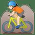 🚵🏻 person mountain biking: light skin tone Emoji on Google Platform