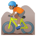 🚵🏽 person mountain biking: medium skin tone Emoji on Google Platform