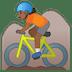 🚵🏾 person mountain biking: medium-dark skin tone Emoji on Google Platform