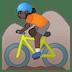 🚵🏿 person mountain biking: dark skin tone Emoji on Google Platform