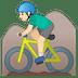 🚵🏻♂️ man mountain biking: light skin tone Emoji on Google Platform