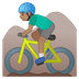 🚵🏽‍♂️ man mountain biking: medium skin tone Emoji on Google Platform