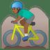 🚵🏾♂️ man mountain biking: medium-dark skin tone Emoji on Google Platform