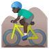 🚵🏿‍♂️ man mountain biking: dark skin tone Emoji on Google Platform
