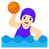 🤽🏻‍♀️ woman playing water polo: light skin tone Emoji on Google Platform