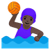 🤽🏿‍♀️ woman playing water polo: dark skin tone Emoji on Google Platform