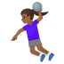 🤾🏾♀️ woman playing handball: medium-dark skin tone Emoji on Google Platform