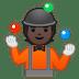 🤹🏿 person juggling: dark skin tone Emoji on Google Platform