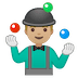 🤹🏼‍♂️ man juggling: medium-light skin tone Emoji on Google Platform