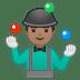 🤹🏽♂️ man juggling: medium skin tone Emoji on Google Platform