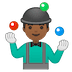 🤹🏾‍♂️ man juggling: medium-dark skin tone Emoji on Google Platform