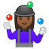 🤹🏾‍♀️ woman juggling: medium-dark skin tone Emoji on Google Platform