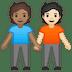 🧑🏽🤝🧑🏻 people holding hands: medium skin tone, light skin tone Emoji on Google Platform