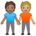 🧑🏽‍🤝‍🧑🏼 people holding hands: medium skin tone, medium-light skin tone Emoji on Google Platform