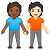🧑🏾‍🤝‍🧑🏻 people holding hands: medium-dark skin tone, light skin tone Emoji on Google Platform