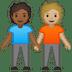 🧑🏾🤝🧑🏼 people holding hands: medium-dark skin tone, medium-light skin tone Emoji on Google Platform