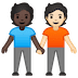 🧑🏿🤝🧑🏻 people holding hands: dark skin tone, light skin tone Emoji on Google Platform