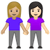 👩🏼‍🤝‍👩🏻 women holding hands: medium-light skin tone, light skin tone Emoji on Google Platform