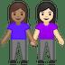 👩🏽🤝👩🏻 women holding hands: medium skin tone, light skin tone Emoji on Google Platform