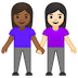 👩🏾‍🤝‍👩🏻 women holding hands: medium-dark skin tone, light skin tone Emoji on Google Platform