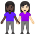 👩🏿🤝👩🏻 women holding hands: dark skin tone, light skin tone Emoji on Google Platform