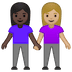 👩🏿‍🤝‍👩🏼 women holding hands: dark skin tone, medium-light skin tone Emoji on Google Platform